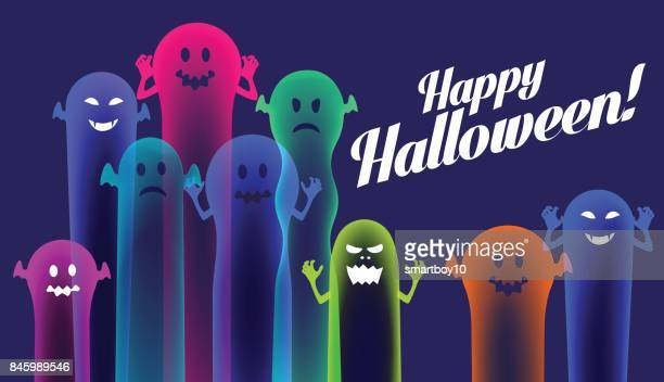 Colourful Halloween Ghosts