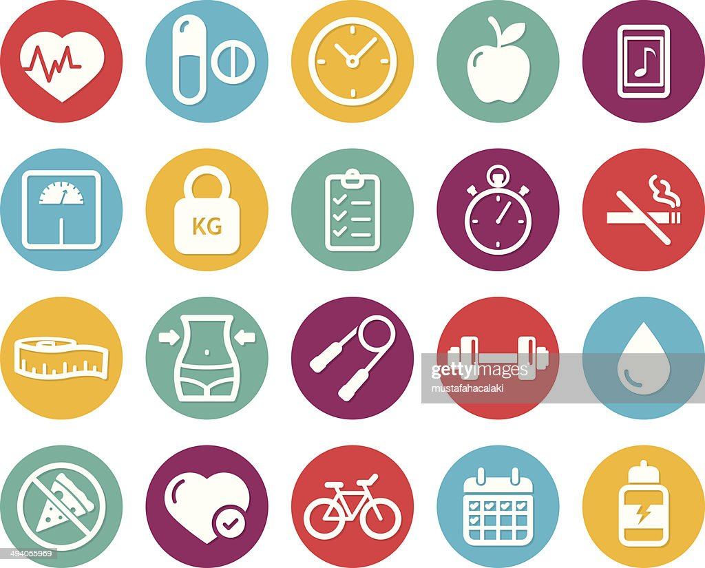 Colourful healthy lifestyle and fitness icons : stock illustration