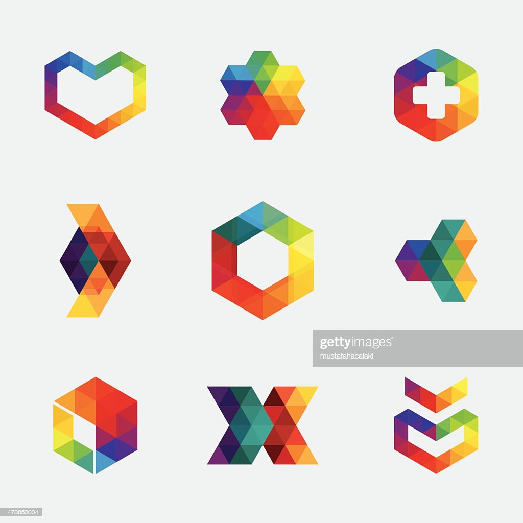 Colourful hexagon icons and symbols