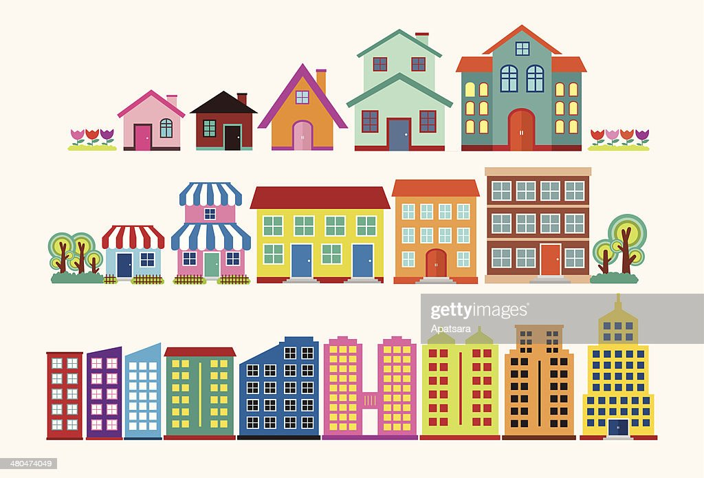 Colourful house and building collection set