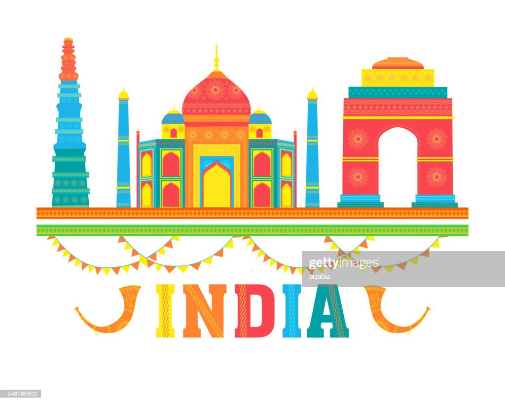Colourful Indian Monuments for Independence Day.