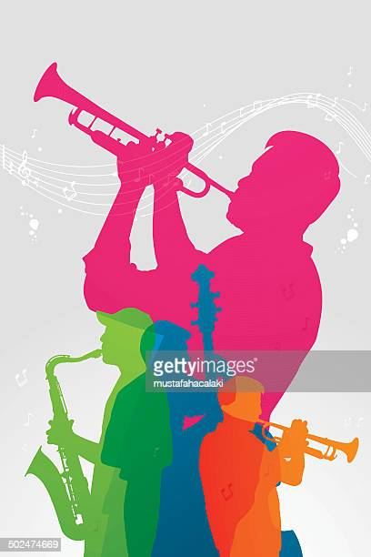 colourful jazz band - musician stock illustrations, clip art, cartoons, & icons
