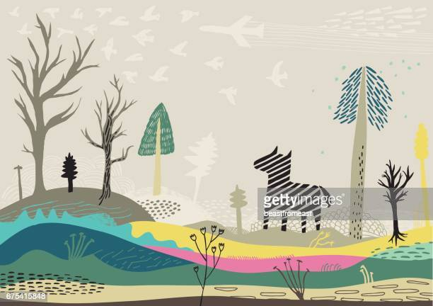 Colourful landscape with zebra, birds and trees