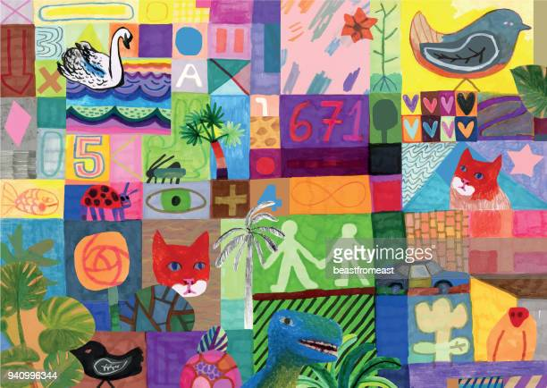 bunte mischtechnik collage hintergrundmuster - handcoloriert stock-grafiken, -clipart, -cartoons und -symbole