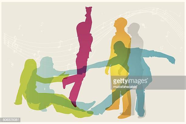 ilustraciones, imágenes clip art, dibujos animados e iconos de stock de bailarín siluetas de colores modernos - baile moderno