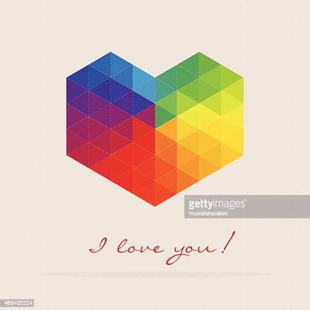 colourful mosaic heart shape - mosaic stock illustrations