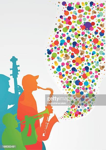 illustrations, cliparts, dessins animés et icônes de la musique colorées - jazz