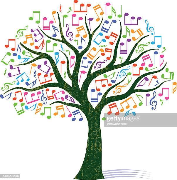 colourful note tree illustration - treble clef stock illustrations, clip art, cartoons, & icons