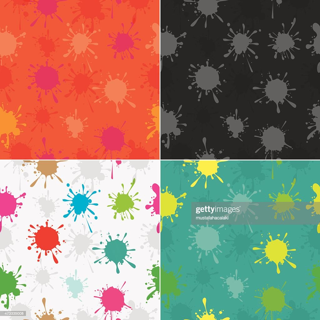 Colourful paint splatters seamless pattern