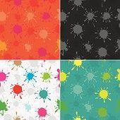 Colourful paint splatters seamless pattern