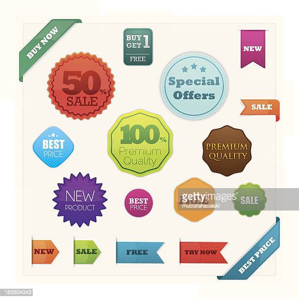colourful promoting badges and ribbons - new stock illustrations