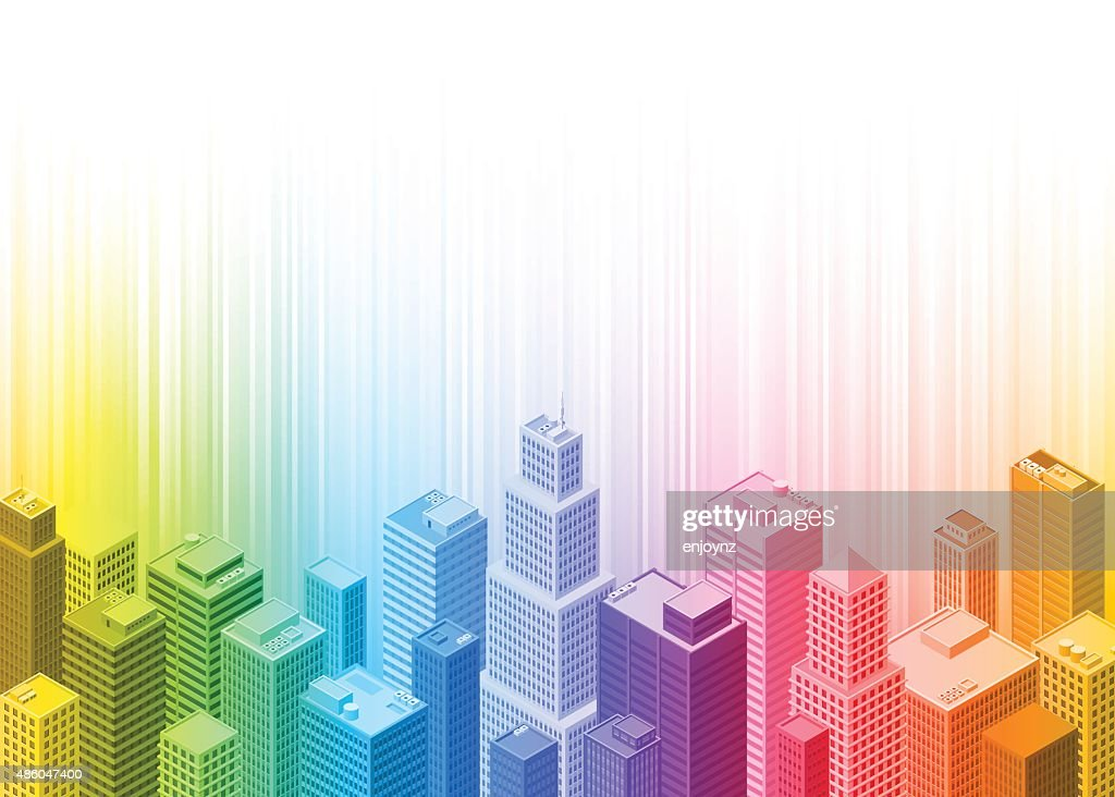 Colourful rainbow city