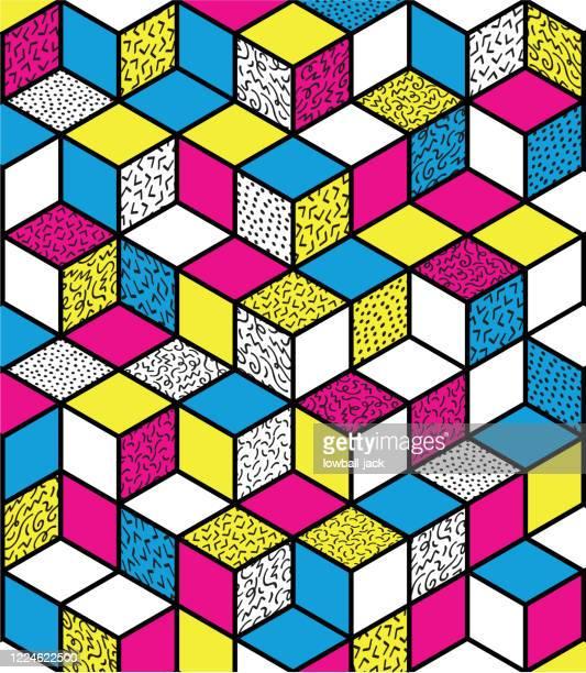 ilustraciones, imágenes clip art, dibujos animados e iconos de stock de un retro colorido que somos el póster de los años 90 o el diseño de página con un fondo de cubo estampado - música pop