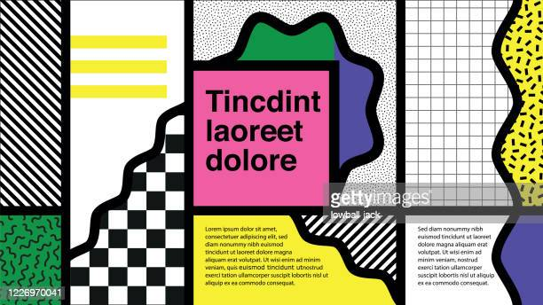 a colourful retro we are the 90s poster or website page design with a patterned background,  design, vector illustration - 1990 1999 stock illustrations