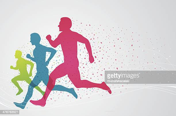 colourful runners - track and field stock illustrations, clip art, cartoons, & icons
