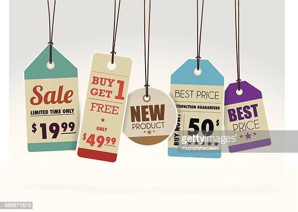 Colourful sale labels
