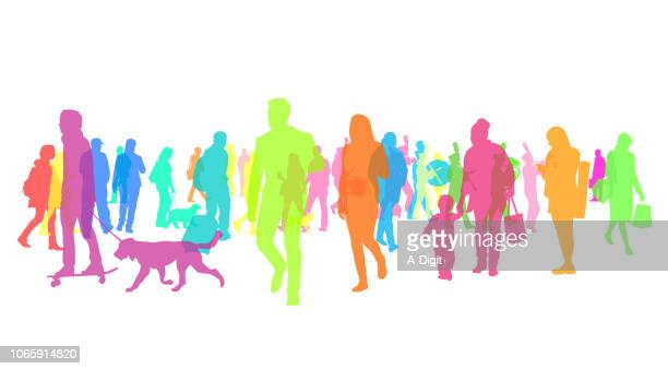 colourful silhouette crowd of people - pedestrian stock illustrations