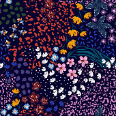 Colourful small liberty blooming garden flower mix with leoprad safari animal skin seamless pattern,vector EPS10 ,Design for fashion , fabric, textile, wallpaper, cover, web , wrapping