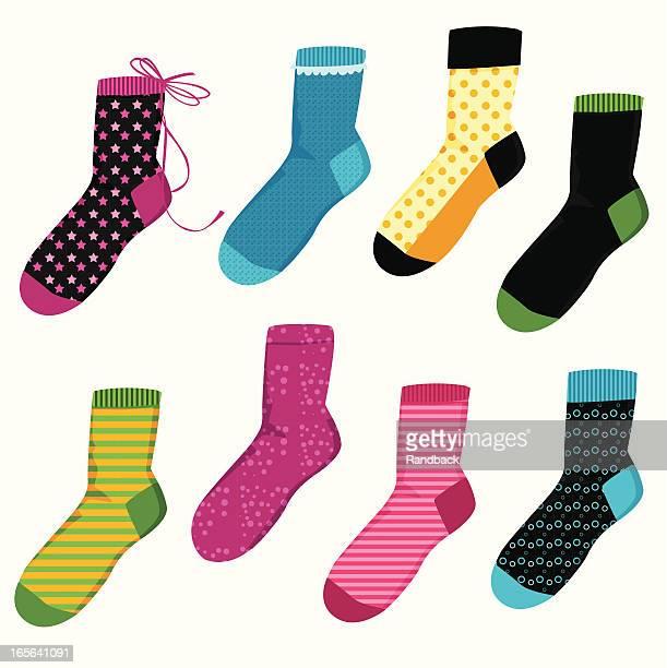 illustrazioni stock, clip art, cartoni animati e icone di tendenza di calzini colorate - calzino
