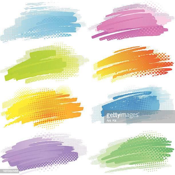 ilustrações, clipart, desenhos animados e ícones de toques coloridos com padrão de meio-tom - composição