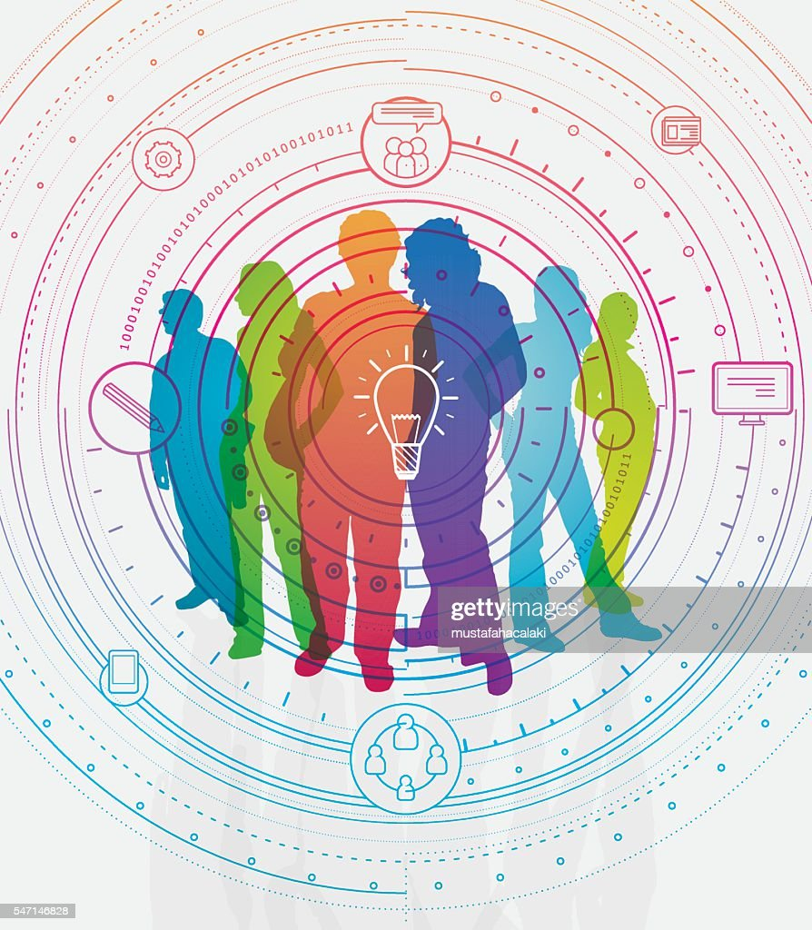 Colourful student silhouettes : stock illustration