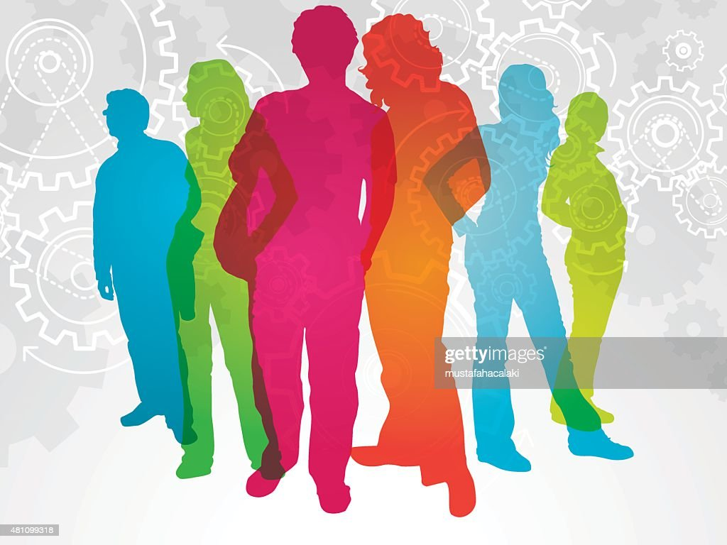 Colourful student silhouettes with gears : stock illustration