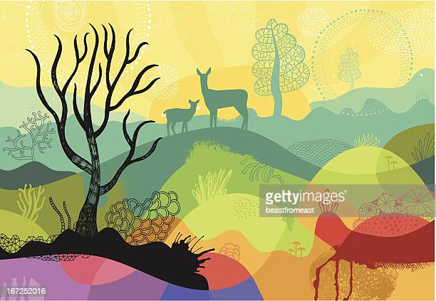 colourful sunny landscape with plants, trees and deers - nature stock illustrations, clip art, cartoons, & icons