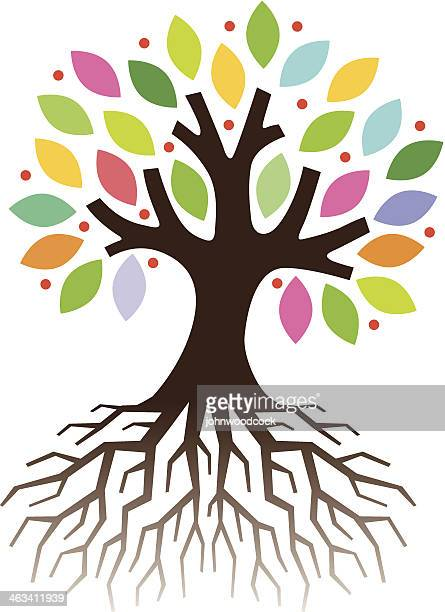 colourful tree roots - tree trunk stock illustrations, clip art, cartoons, & icons