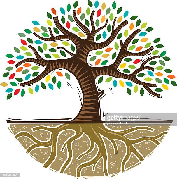 colourful woodcut tree - root stock illustrations, clip art, cartoons, & icons