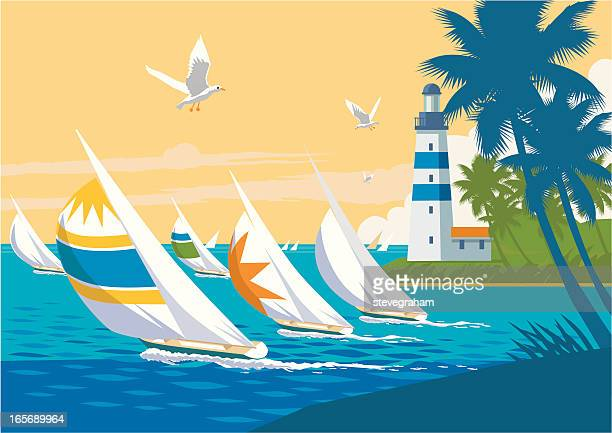 Colourful Yachts Sailing the Tropics and a Lighthouse