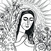 Colouring page of Virgin Mary