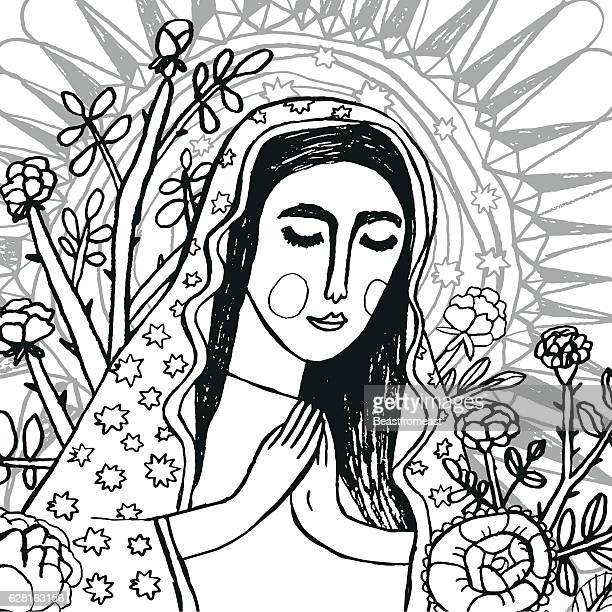 colouring page of virgin mary - virgin mary stock illustrations