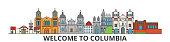 Columbia outline skyline, columbian flat thin line icons, landmarks, illustrations. Columbia cityscape, columbian travel city vector banner. Urban silhouette