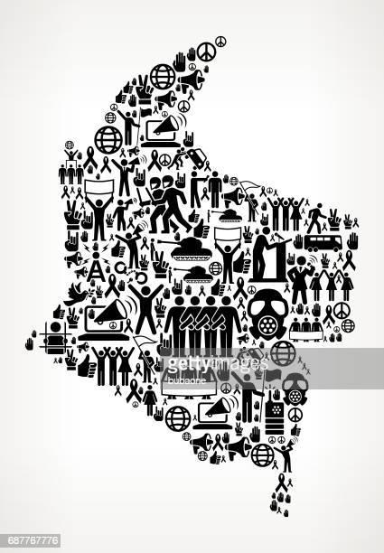 stockillustraties, clipart, cartoons en iconen met columbia protest en burgerrechten vector icons achtergrond - colombia
