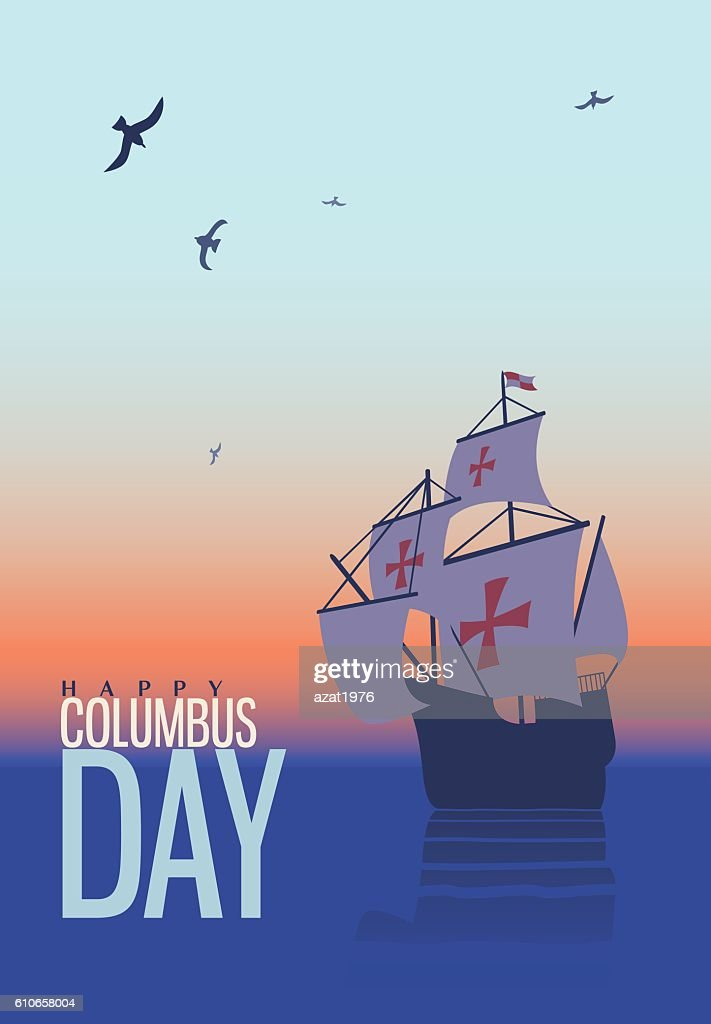Columbus day. Old schooner. Santa Maria. Greetings Card