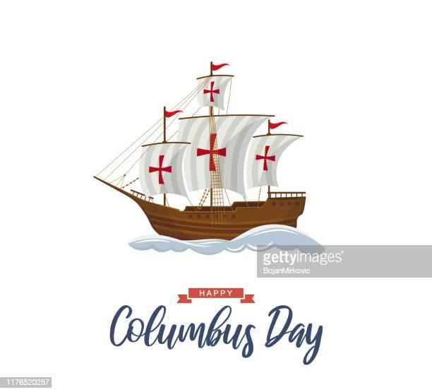 ilustraciones, imágenes clip art, dibujos animados e iconos de stock de cartel del día de colón con velero y olas. vector - cristobal colon