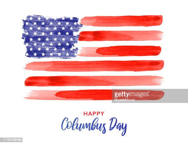 columbus day poster with usa watercolor flag. vector - happy flag day stock illustrations