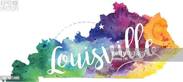 columbus, georgia vector watercolor map - columbus georgia stock illustrations, clip art, cartoons, & icons