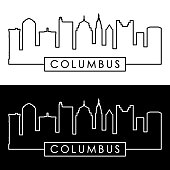 Columbus skyline. Linear style. Editable vector file.