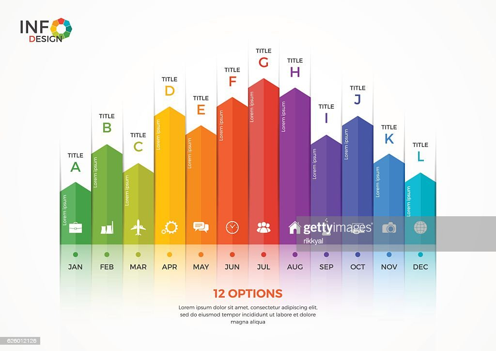 Column chart infographic template with 12 options