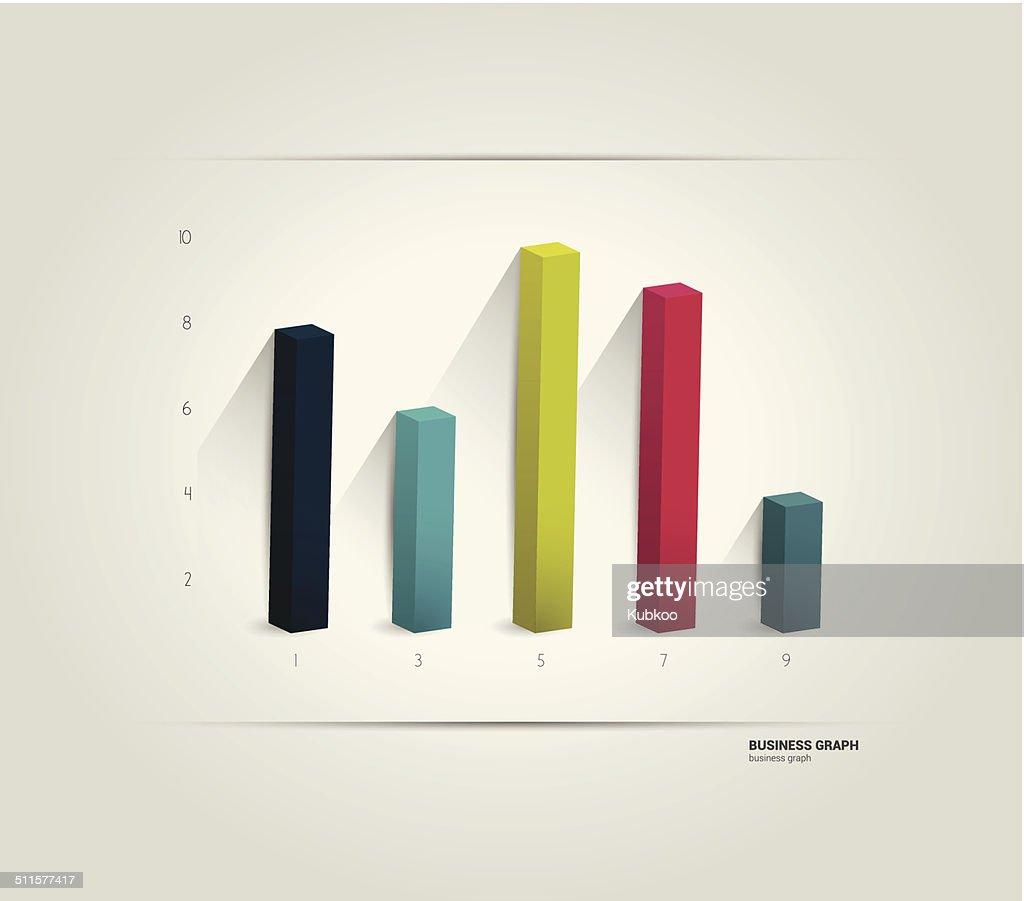 3D column chart. Vector infographic.
