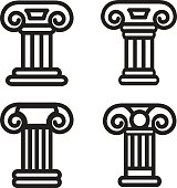 Column icon in four variations. Vector eps 10.