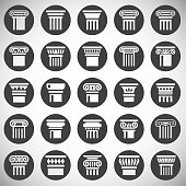 Column icons set on background for graphic and web design. Simple illustration. Internet concept symbol for website button or mobile app.
