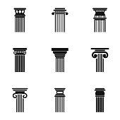 Column icons set, simple style
