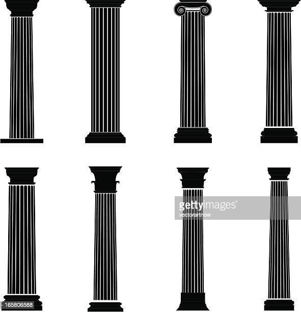 column silhouettes - classical greek style stock illustrations