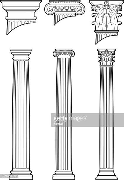 column styles - classical greek style stock illustrations