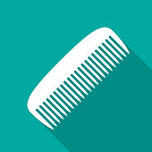 Comb icon with long shadow. Flat design style.