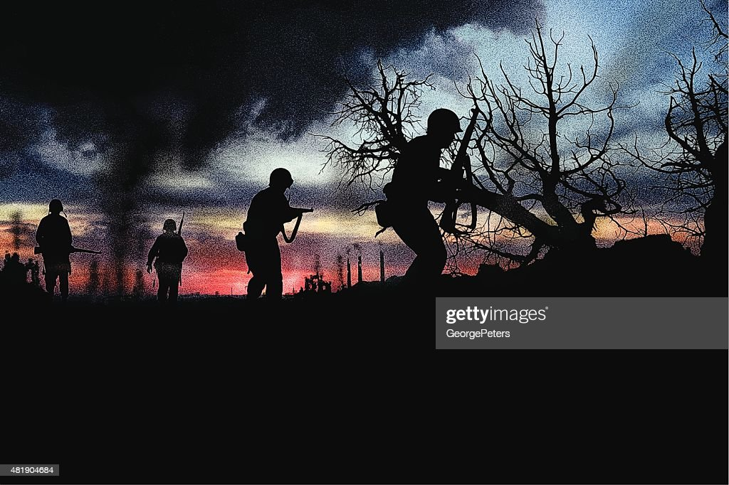Combat Infantry Soldiers Fighting War : stock illustration