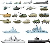 combat vehicle plane and boats