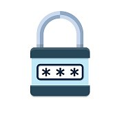 Combination lock.Padlock with password vector icon.